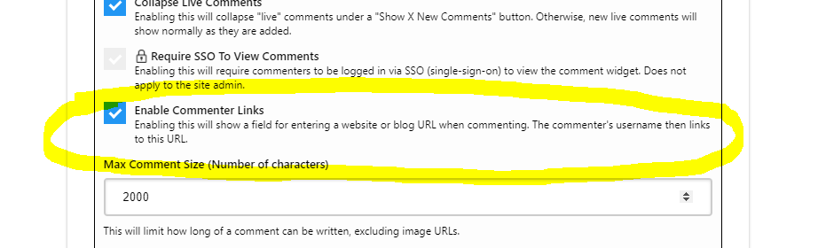 Enabling Commenter Links